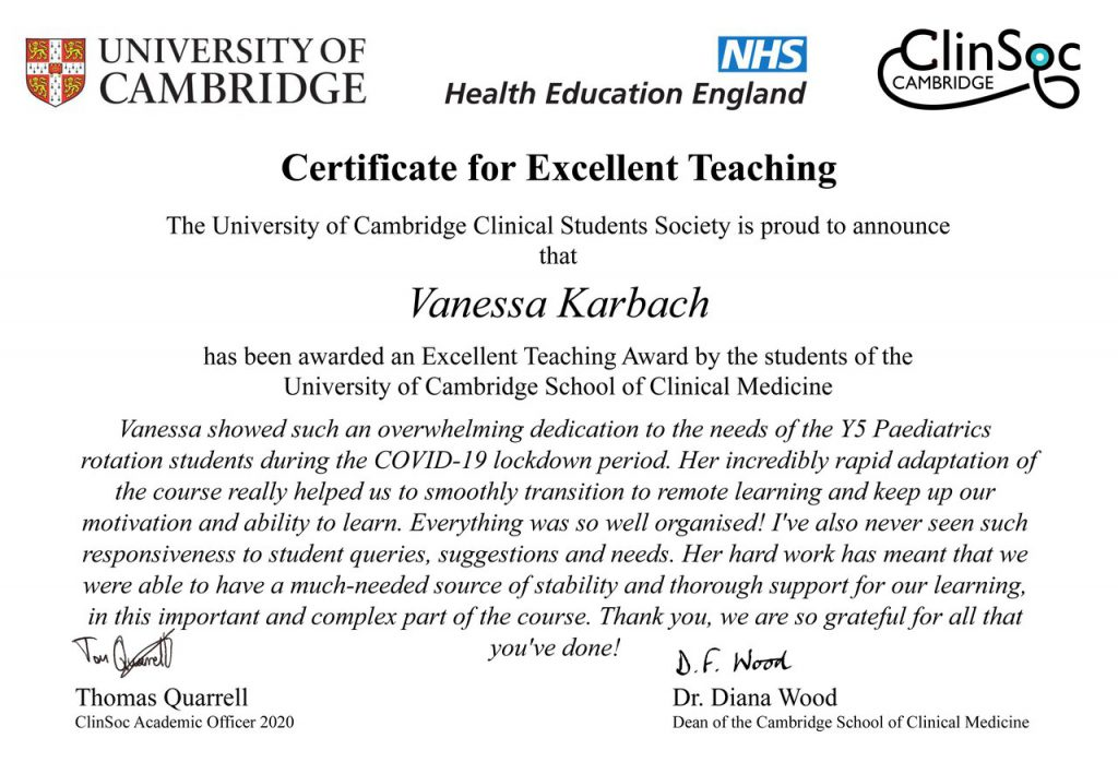 Vanessa Karbach - ETA certificate